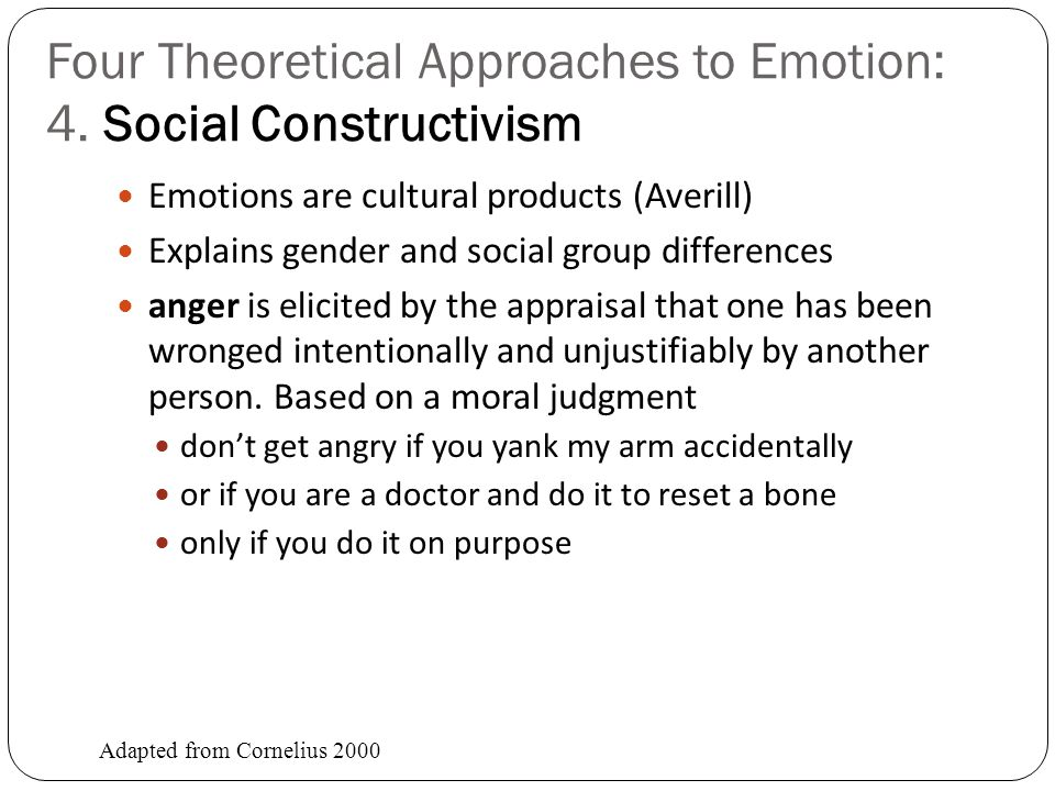 Four Theoretical Approaches to Emotion: 4. Social Constructivism