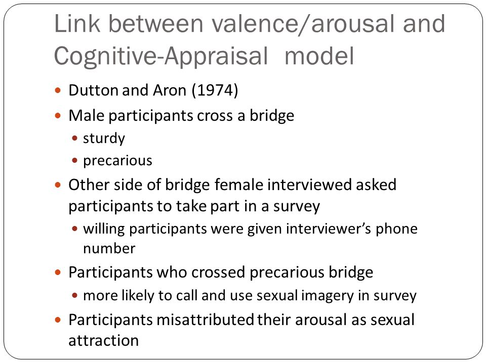 Link between valence/arousal and Cognitive-Appraisal model