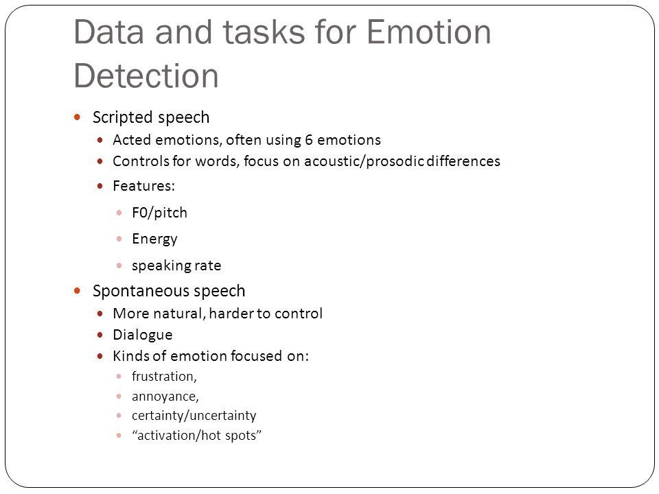 Data and tasks for Emotion Detection