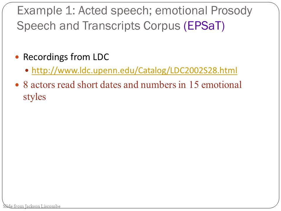 Example 1: Acted speech; emotional Prosody Speech and Transcripts Corpus (EPSaT)