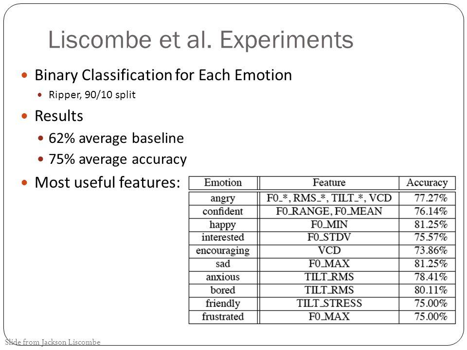 Liscombe et al. Experiments