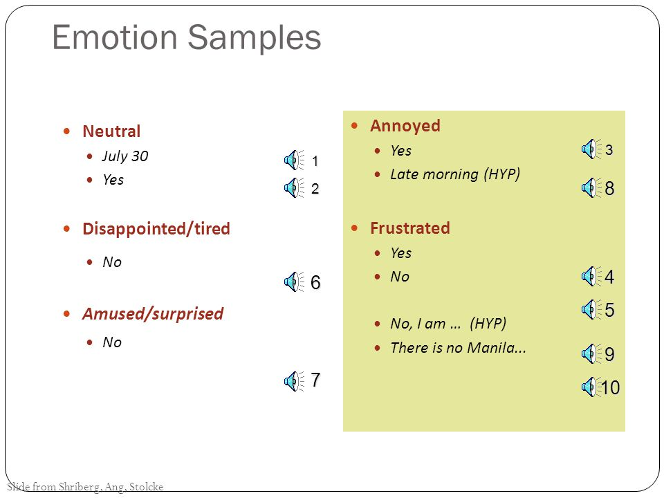 Emotion Samples Annoyed Neutral Disappointed/tired Frustrated 8