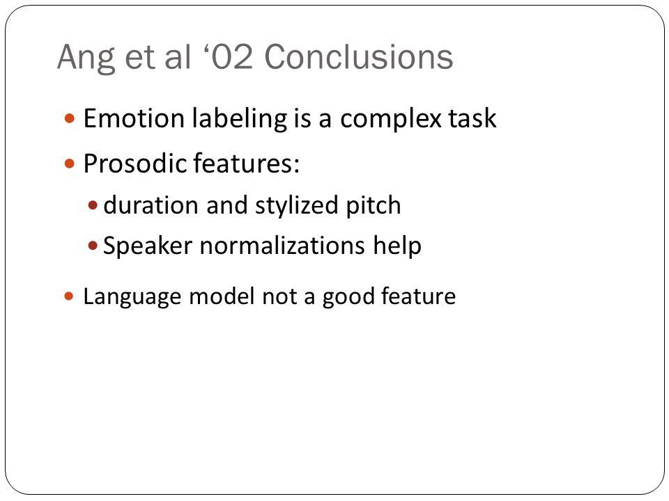Ang et al '02 Conclusions Emotion labeling is a complex task