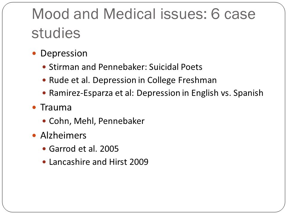 Mood and Medical issues: 6 case studies
