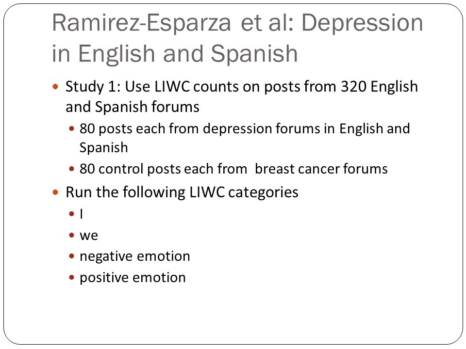 Ramirez-Esparza et al: Depression in English and Spanish