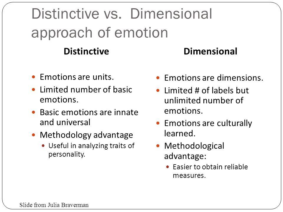Distinctive vs. Dimensional approach of emotion