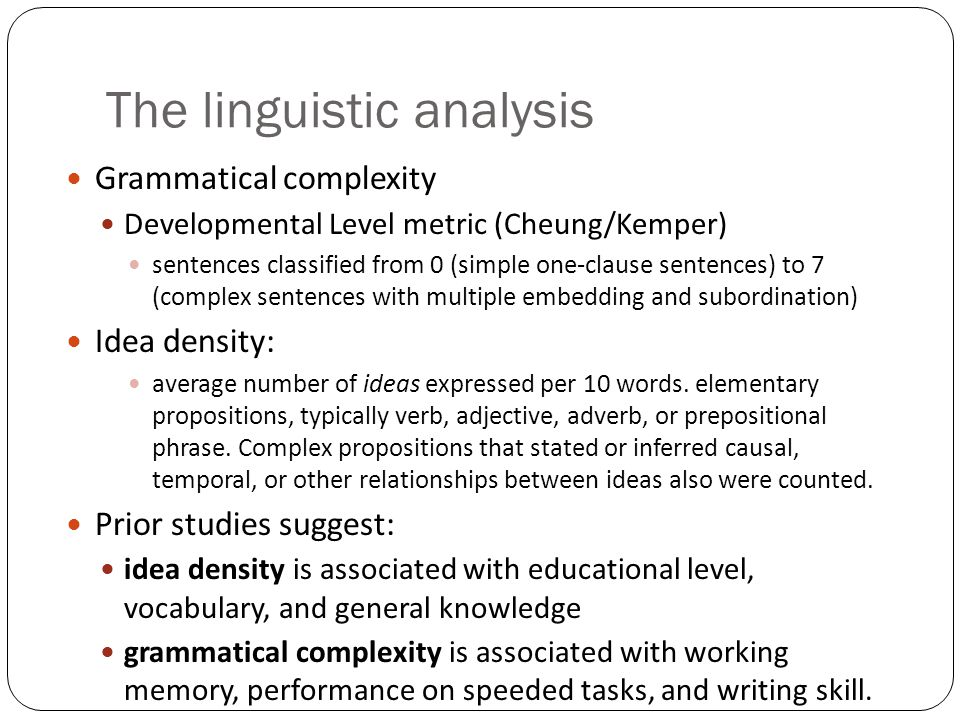 The linguistic analysis