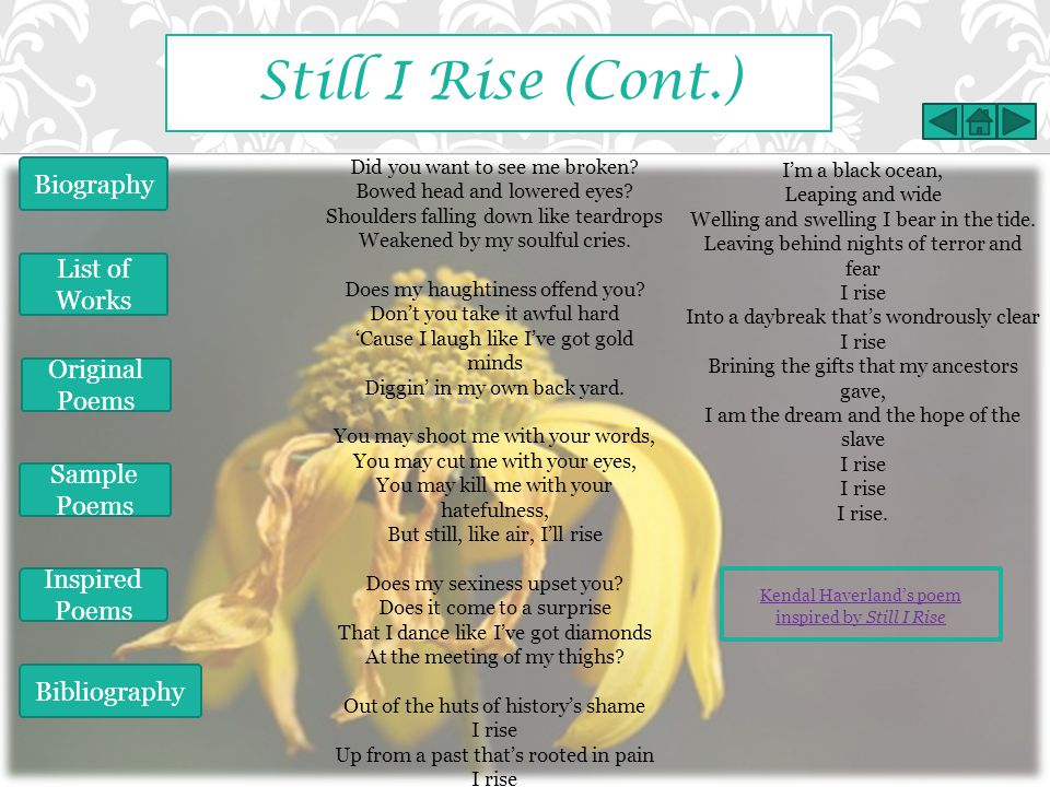 Still I Rise (Cont.) Biography List of Works Original Poems