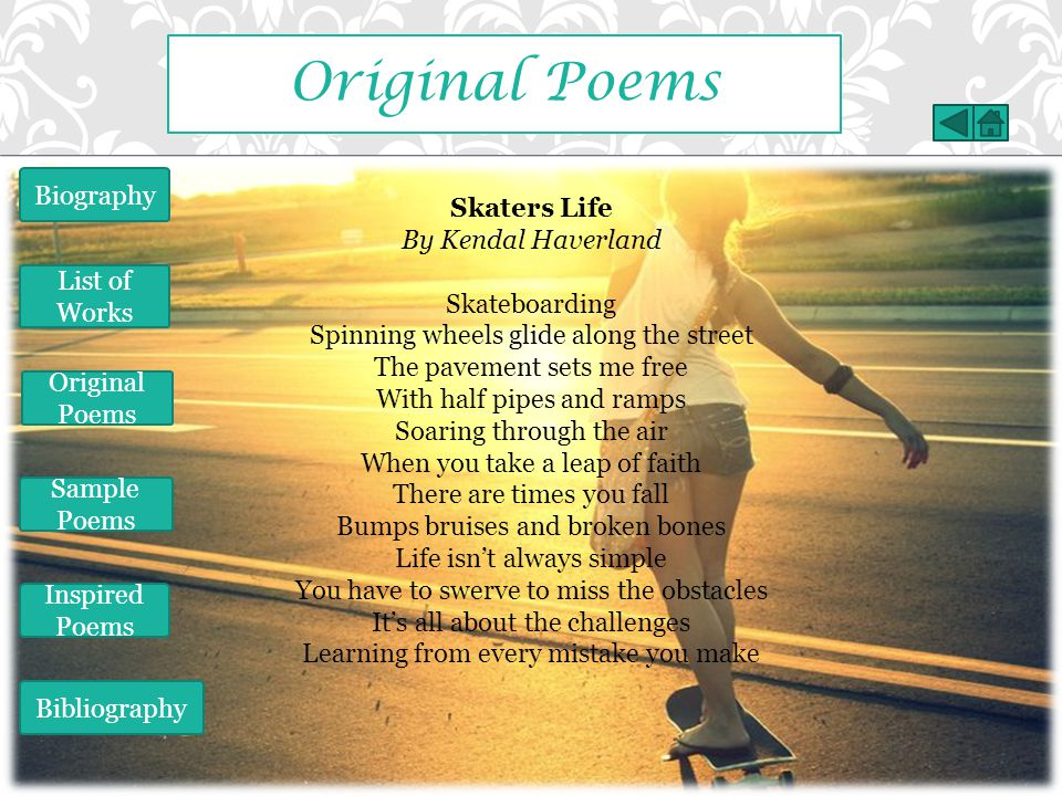 Original Poems Biography Skaters Life By Kendal Haverland