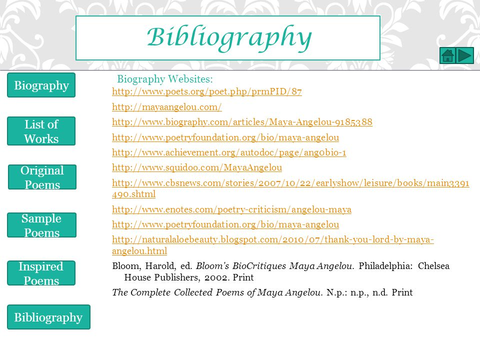 Bibliography Biography List of Works Original Poems Sample Poems
