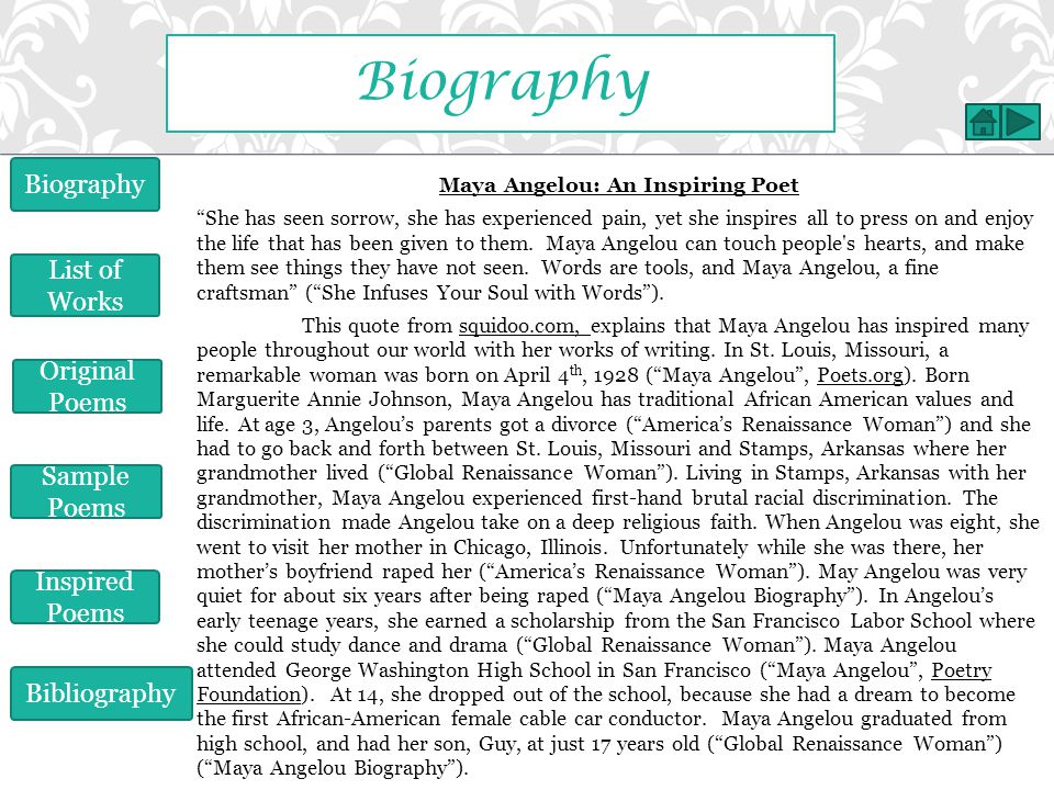 Biography Biography List of Works Original Poems Sample Poems
