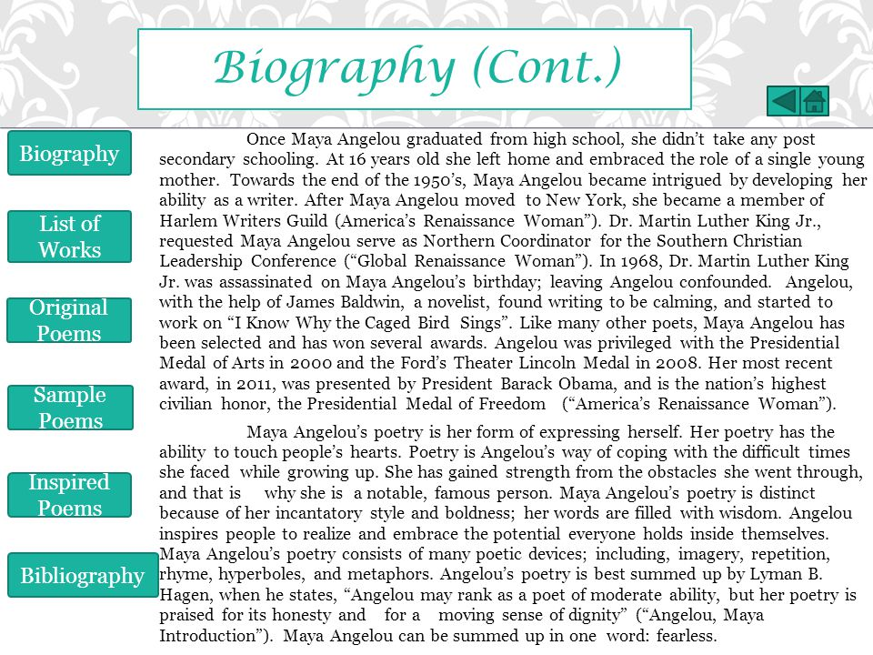 Biography (Cont.) Biography List of Works Original Poems Sample Poems
