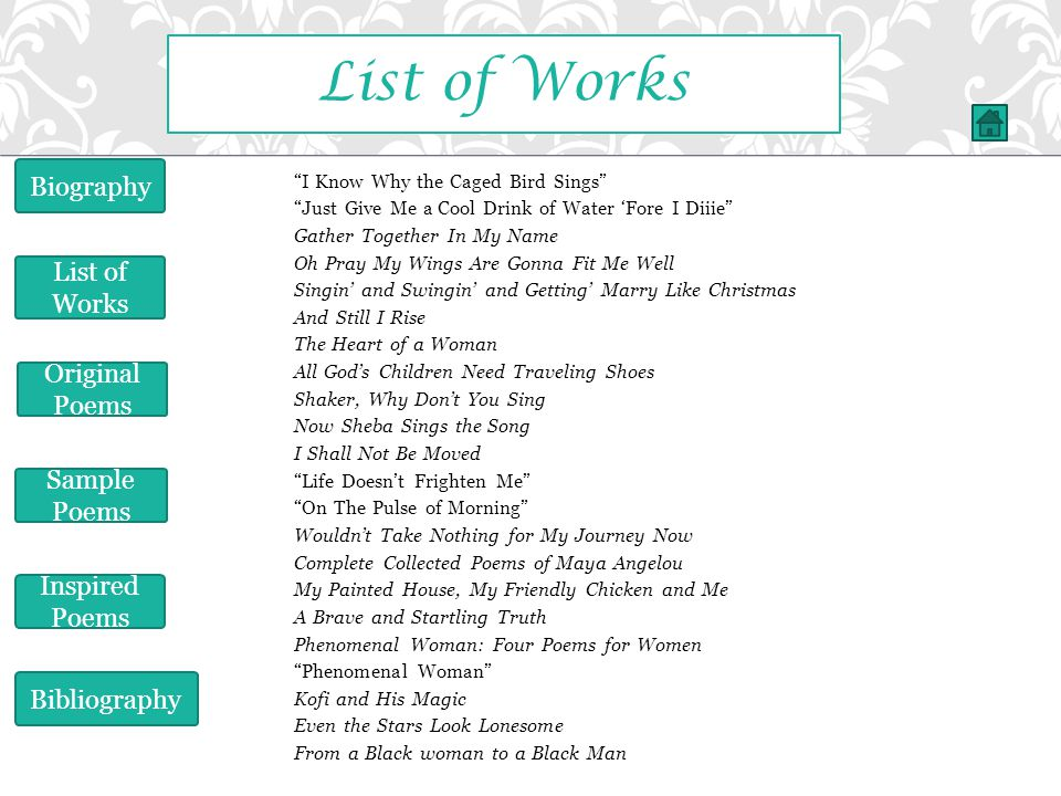 List of Works Biography List of Works Original Poems Sample Poems