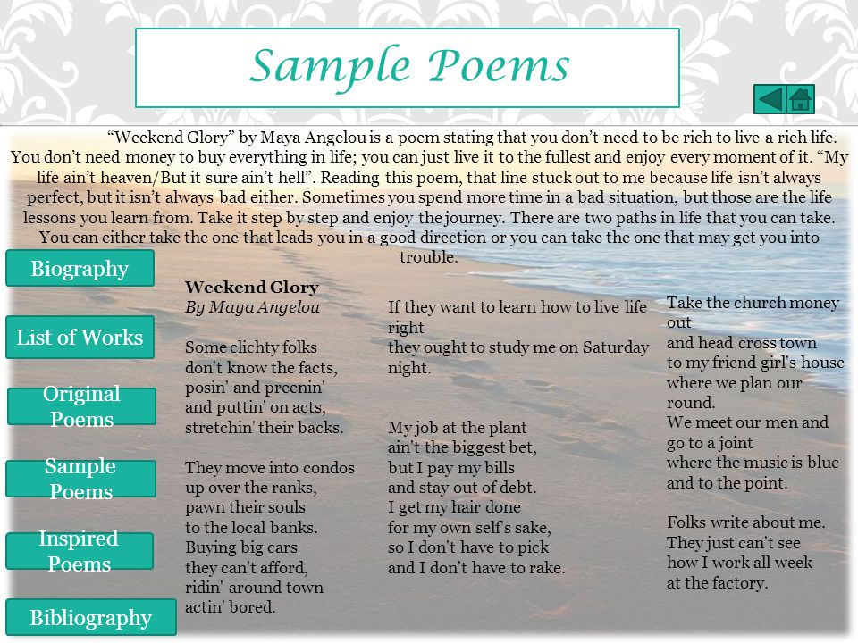 Sample Poems Biography List of Works Original Poems Sample Poems