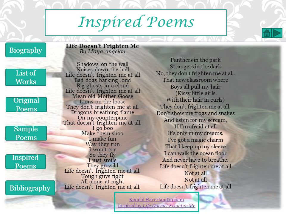 Inspired Poems Biography List of Works Original Poems Sample Poems