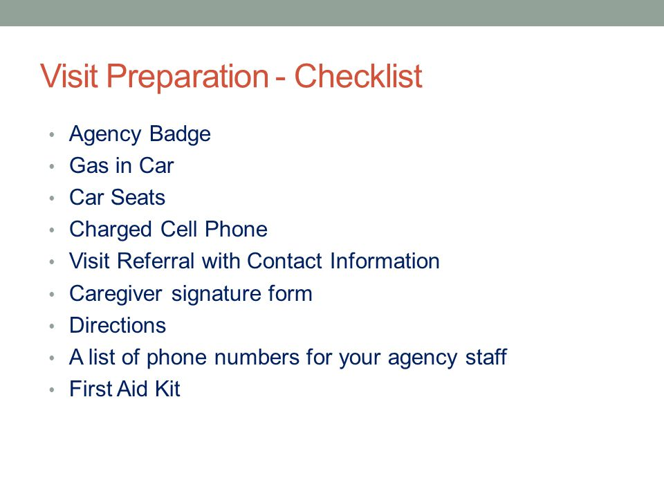 Visit Preparation - Checklist