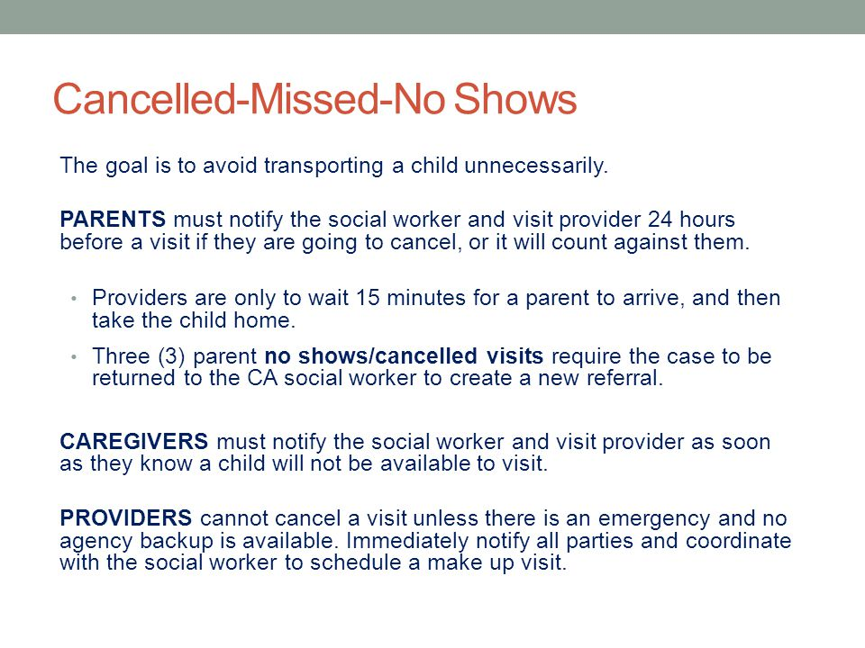 Cancelled-Missed-No Shows