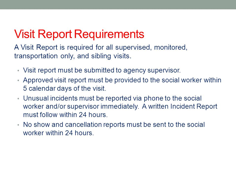 Visit Report Requirements