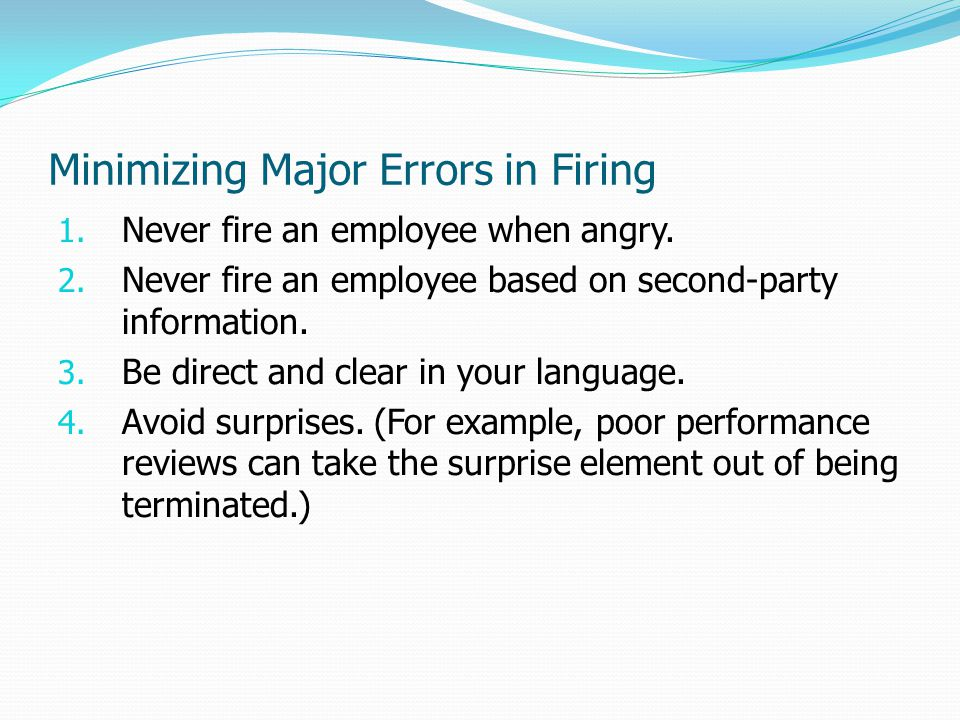 Minimizing Major Errors in Firing