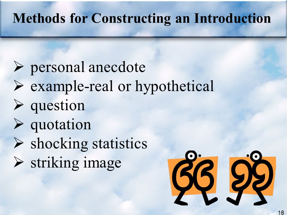 example-real or hypothetical question quotation shocking statistics