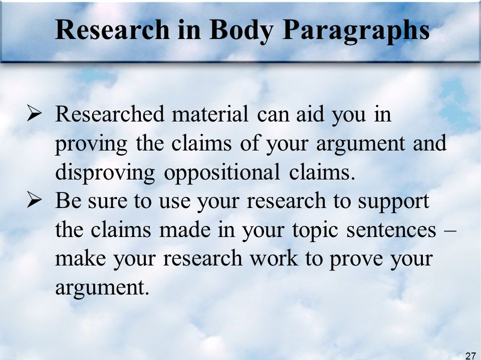 Research in Body Paragraphs