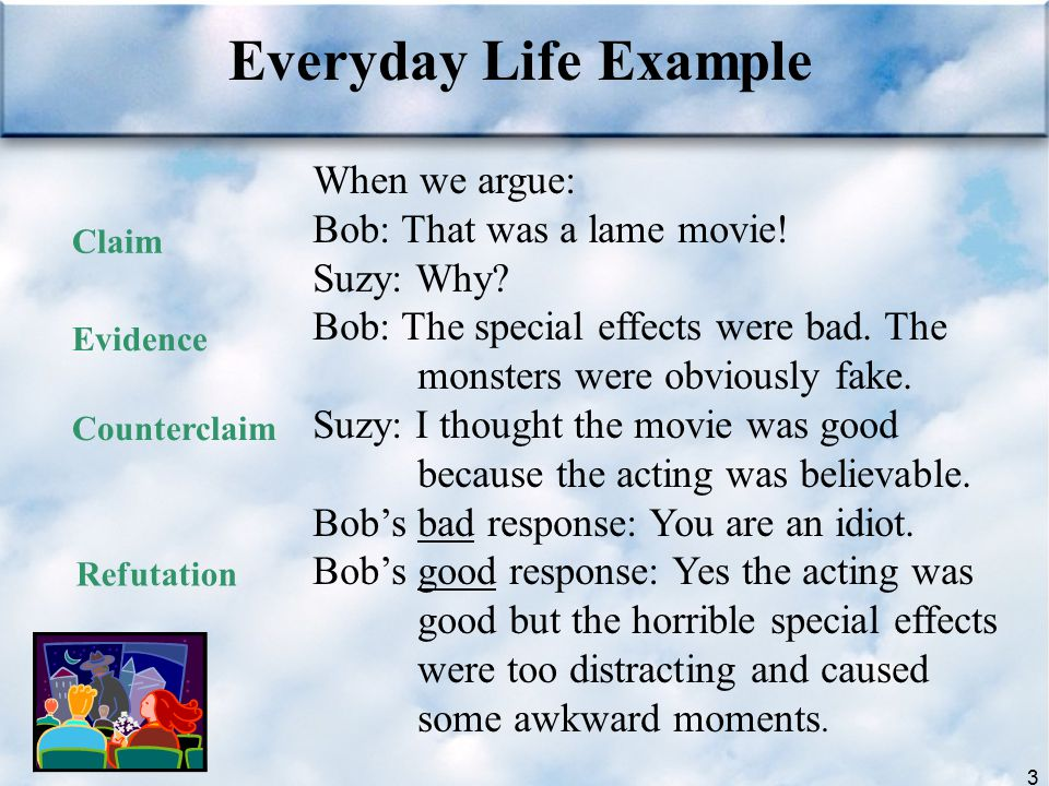 Everyday Life Example When we argue: Bob: That was a lame movie!