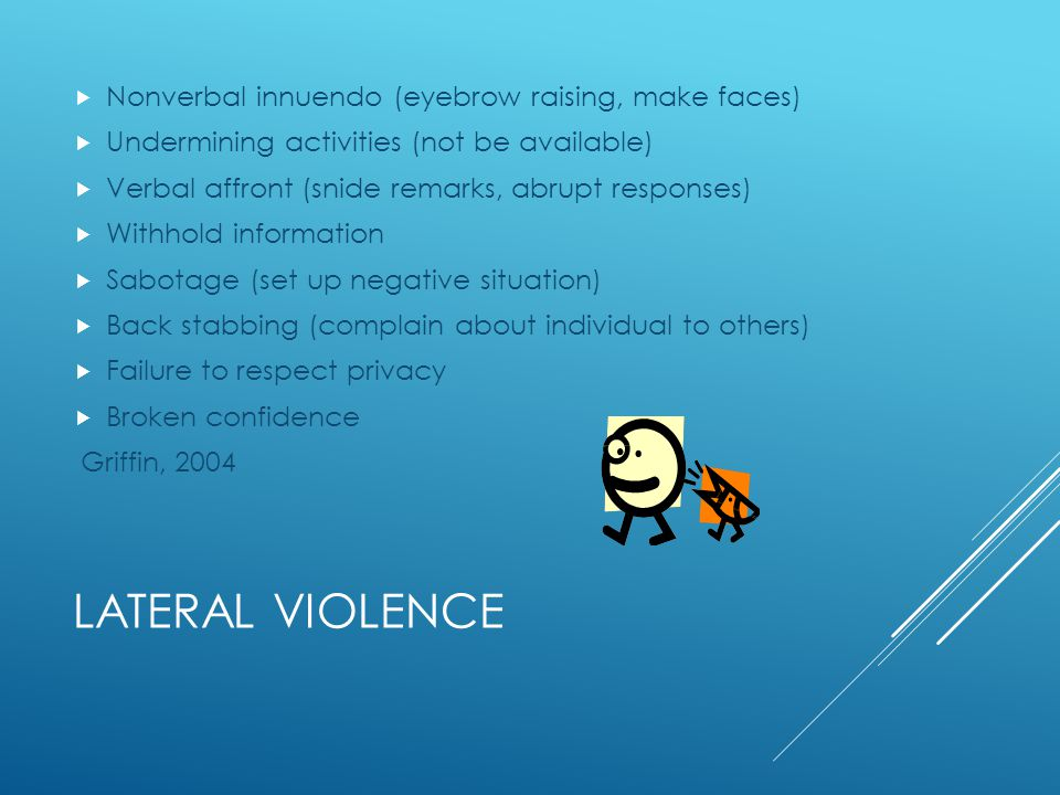 Lateral violence Nonverbal innuendo (eyebrow raising, make faces)
