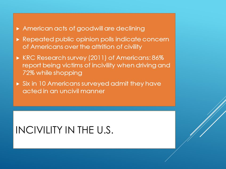 Incivility in the U.S. American acts of goodwill are declining