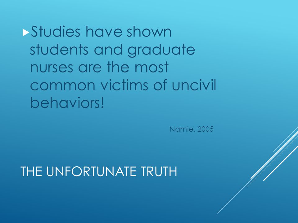 Studies have shown students and graduate nurses are the most common victims of uncivil behaviors!