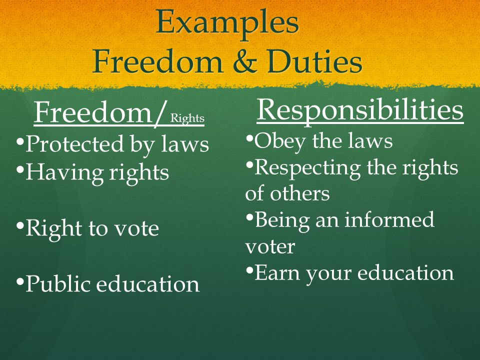 Examples Freedom & Duties