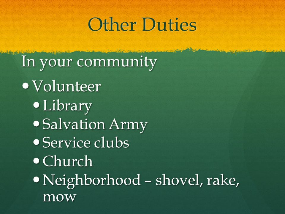 Other Duties In your community Volunteer Library Salvation Army