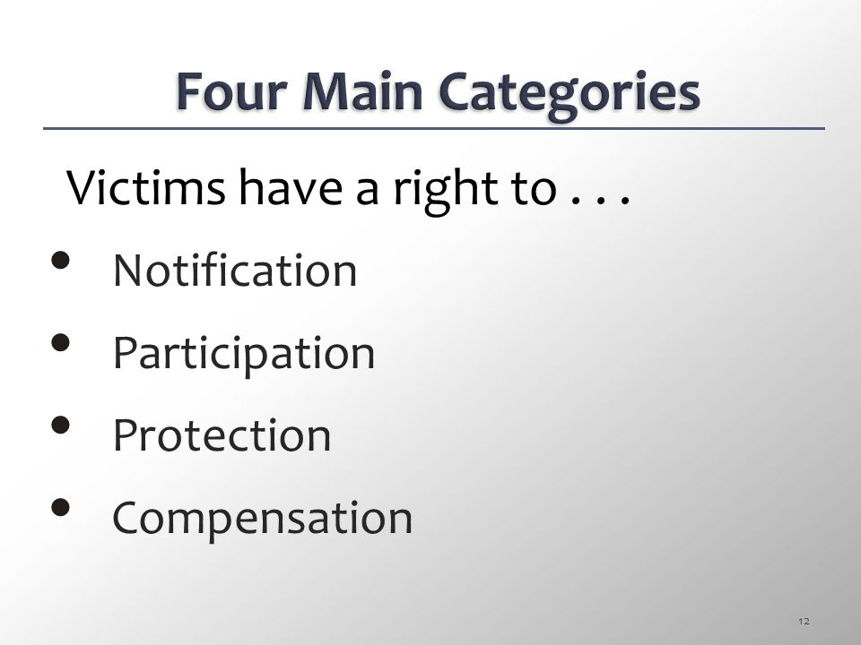 Victims have a right to . . . Notification Participation Protection