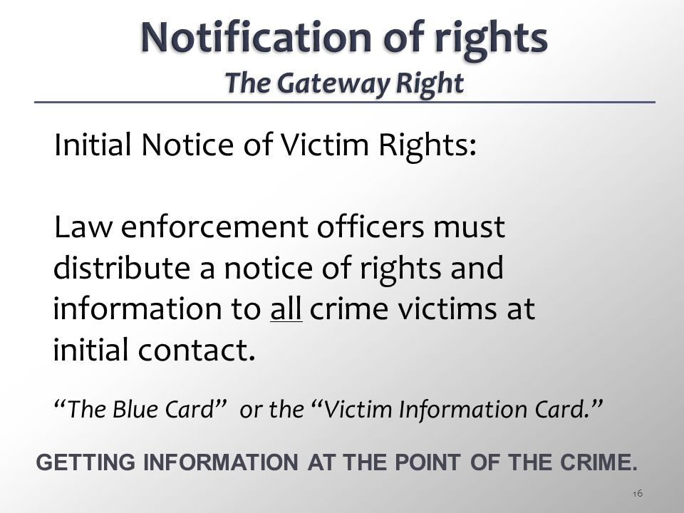 Notification of rights The Gateway Right