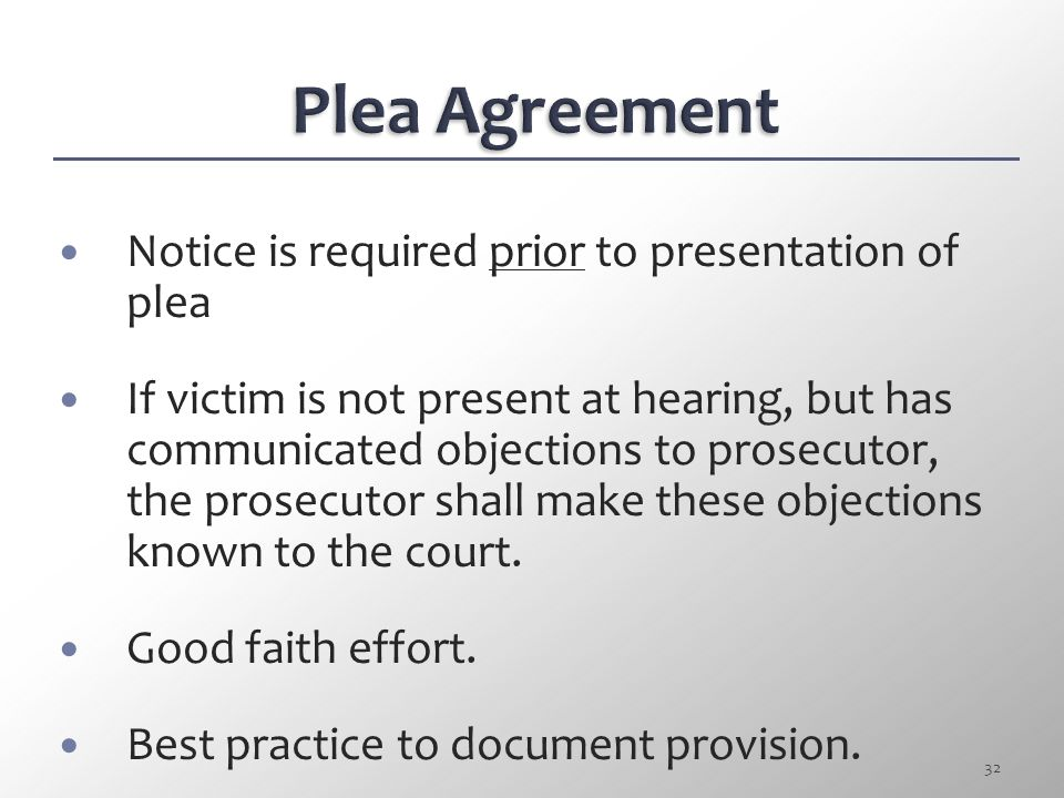 Plea Agreement Notice is required prior to presentation of plea
