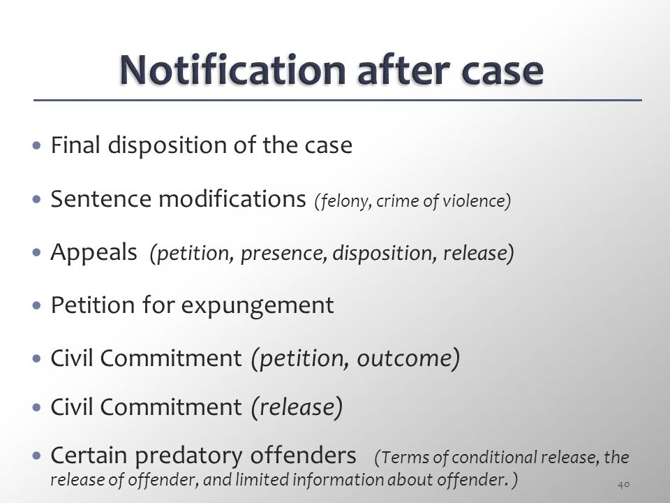 Notification after case
