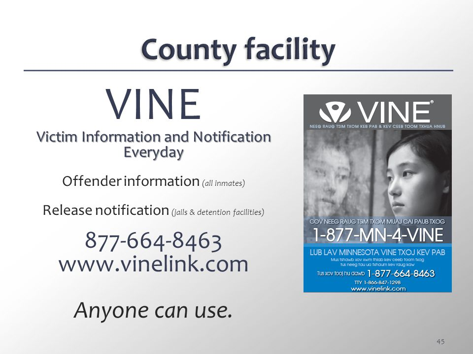 VINE County facility 877-664-8463 www.vinelink.com Anyone can use.