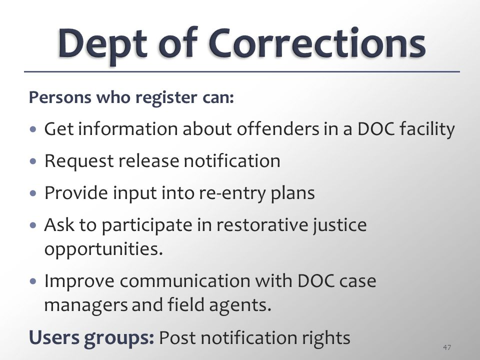 Dept of Corrections Users groups: Post notification rights