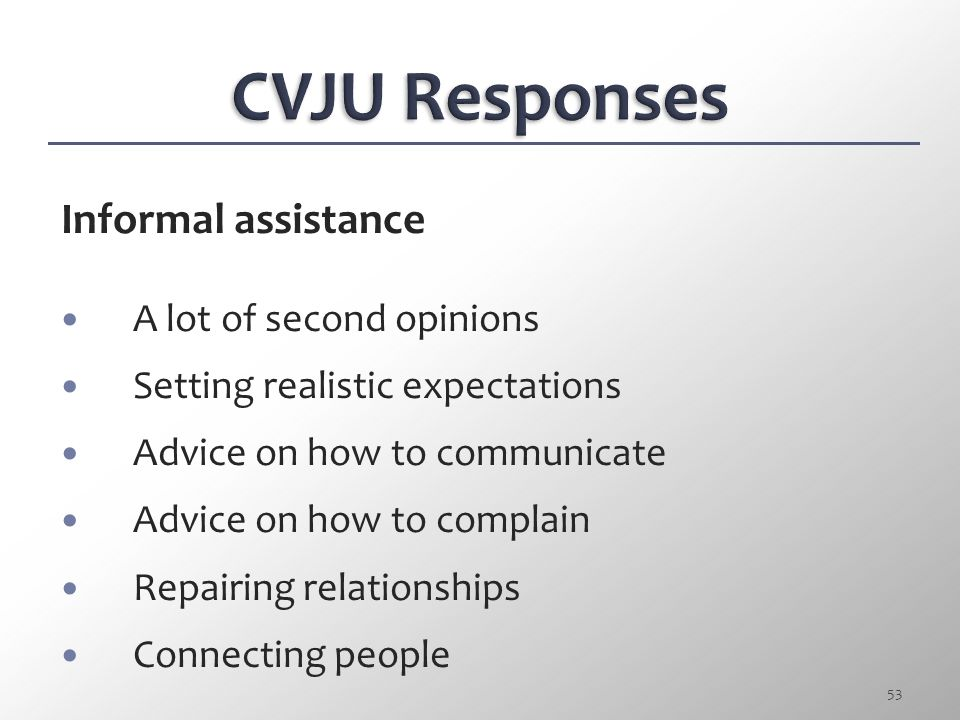 CVJU Responses Informal assistance A lot of second opinions