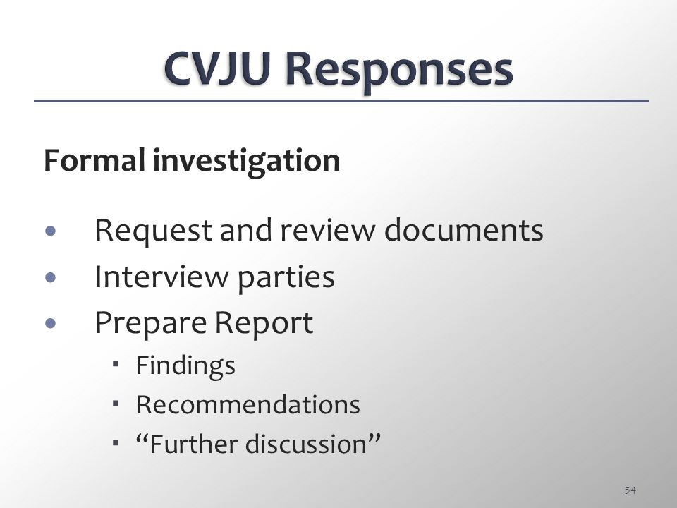CVJU Responses Formal investigation Request and review documents