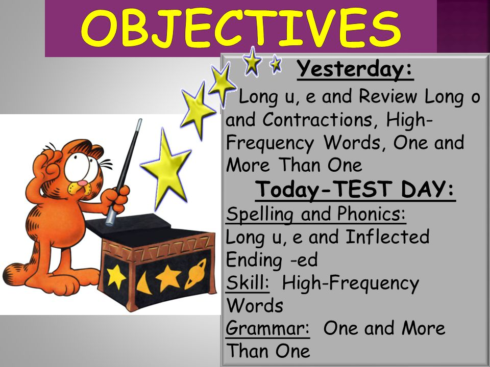 Objectives Yesterday: