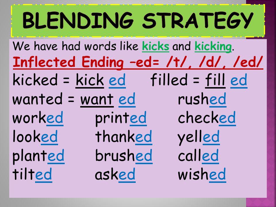 Inflected Ending –ed= /t/, /d/, /ed/