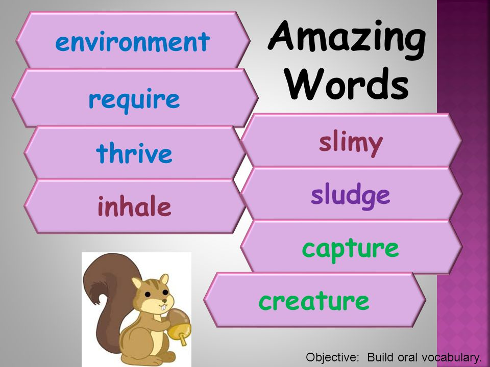 Amazing Words environment require slimy thrive sludge inhale capture