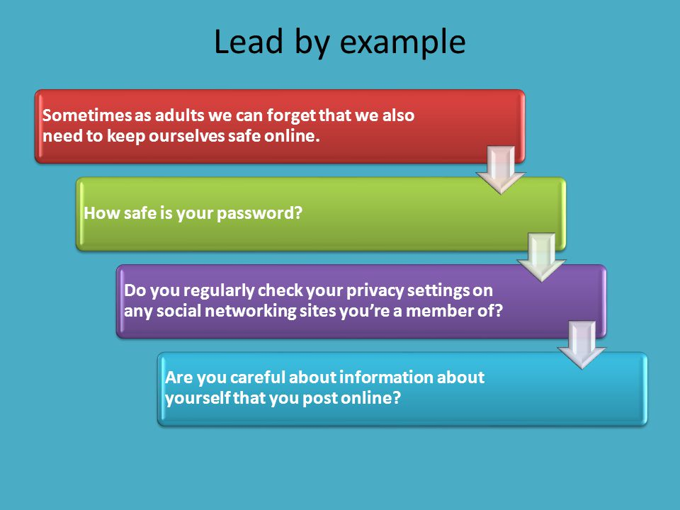Lead by example Sometimes as adults we can forget that we also need to keep ourselves safe online. How safe is your password