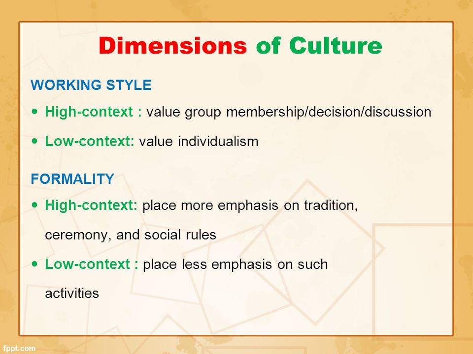 Dimensions of Culture WORKING STYLE