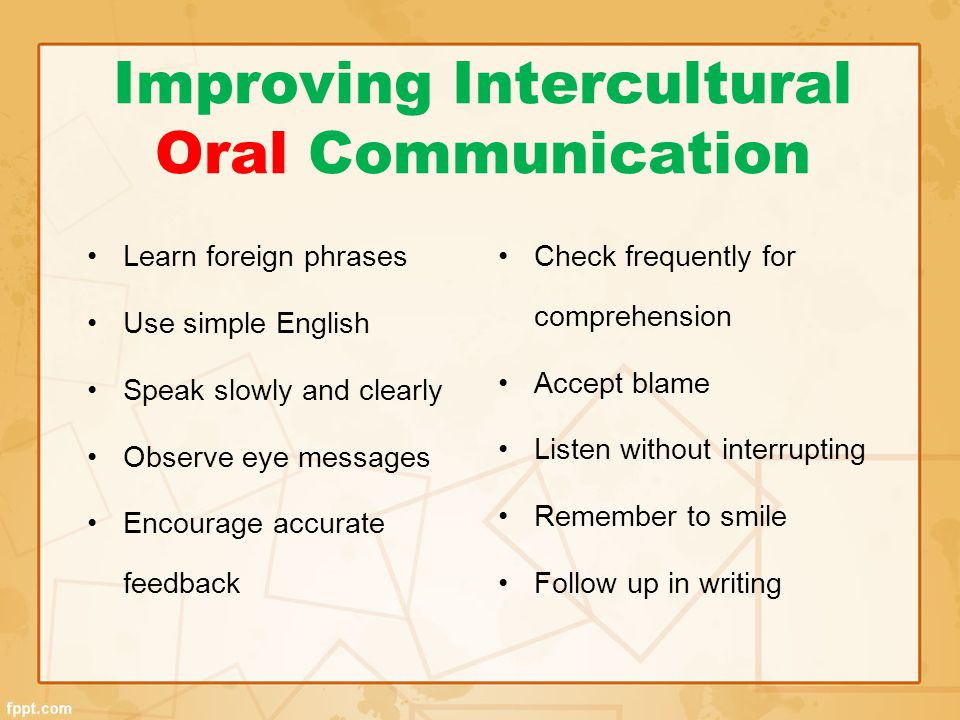 Improving Intercultural Oral Communication