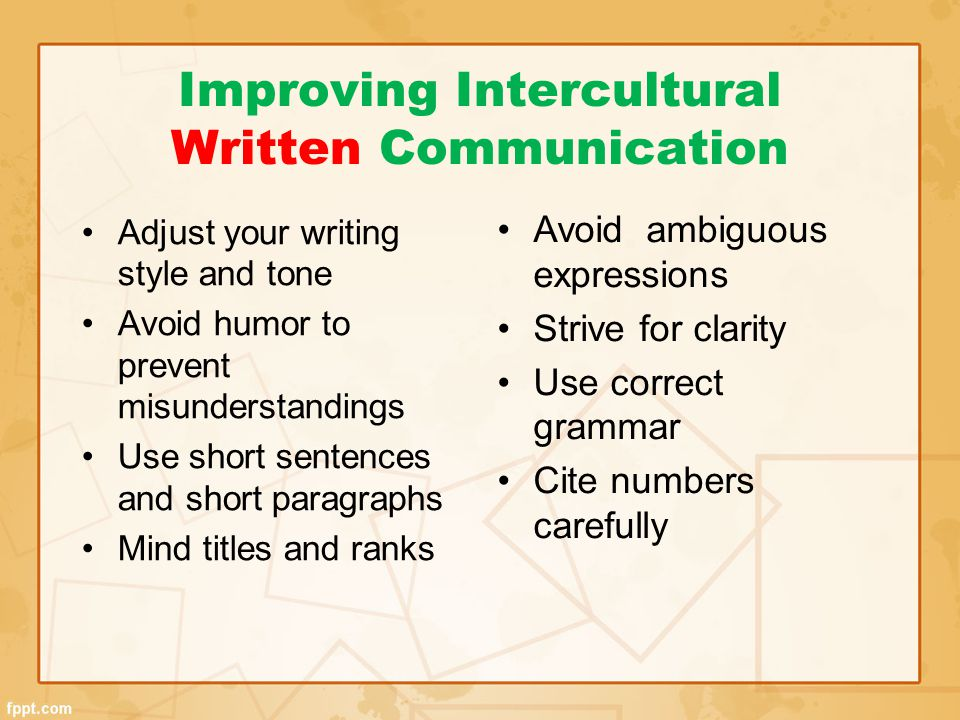 Improving Intercultural Written Communication