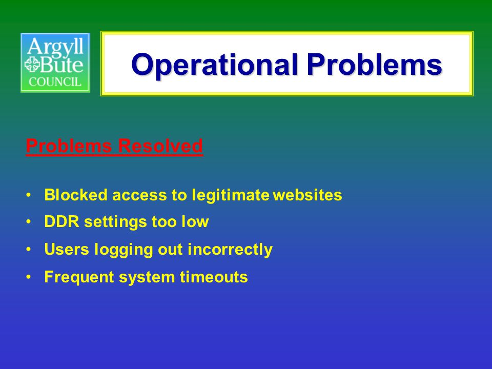 Operational Problems Problems Resolved