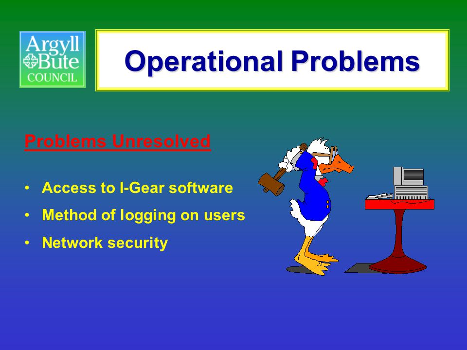 Operational Problems Problems Unresolved Access to I-Gear software