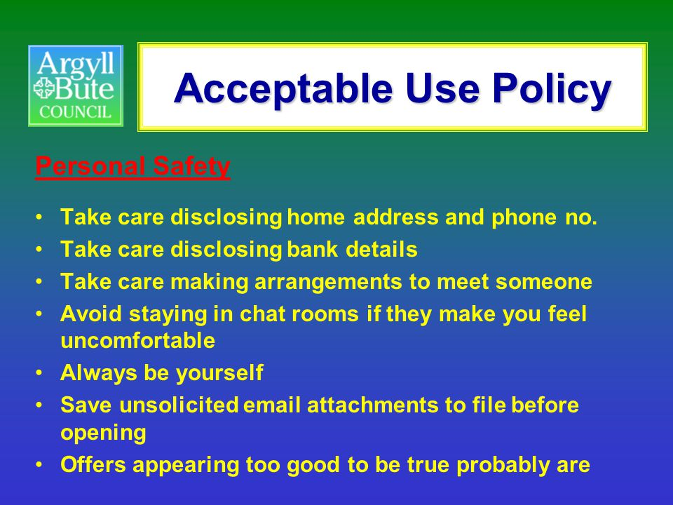 Acceptable Use Policy Personal Safety