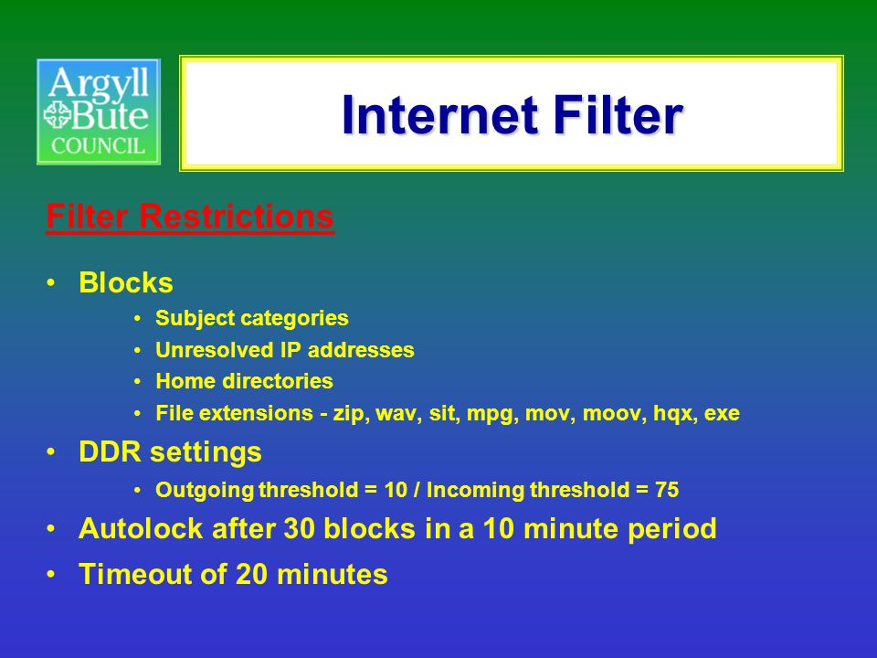 Internet Filter Filter Restrictions Blocks DDR settings